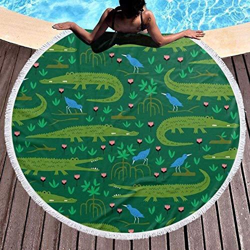 Runde Strandtuch Amazonas-Regenwaldkrokodil Und Blauer Vogel Große Quaste Strand Tapisserie Hippie Baumwolle Tischdecke Weiß Gefüttert Handtuch Yoga Mikrofasermat Schal Teppich Teppich Picknickdecke