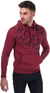 Crosshatch Black Label Mens Lapout Logo Hoody in Red