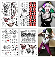 COKOHAPPY SS 一時的な タトゥー 入れ墨 刺青 - Harley Quinn & The Joker 肩から手首 セット の 4 枚 - 80+ Tats コスチューム/コスプレ