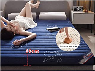 YANGLIYU Topper|Mattress Topper|10CM Emulsion Mattress Topper with an Edge Bound Cover|Thickened Breathable Does Not Collapse (Color : Blue, Size : 1.8x2.0m)