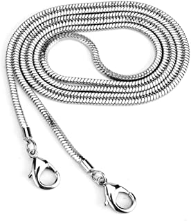 Xiazw Small Square Copper Purse Shoulder Cross Body Handbag Bag Chain Strap Replacement (Silver, 47'')