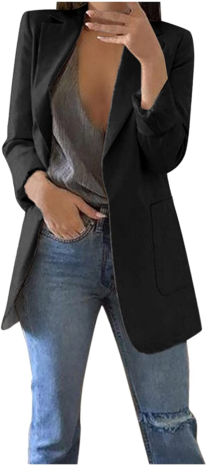 HULKAY Womens Blazer Long wholesale Sleeve Business Large special price !! Front Suit Open Casual