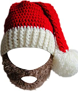 Kafeimali Unisex Christmas Winter Knitted Crochet Beanie Santa Hat with Beard Foldaway Bearded Caps