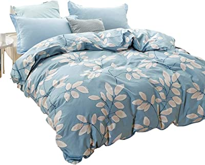 UP&sleep Brushed Duvet Cover Cotton,Light Blue Flowers Comfortable Quilt Sets Soft Machine Washable Anti-Fading Quilts Durable-Q 160x210cm(63x83inch)