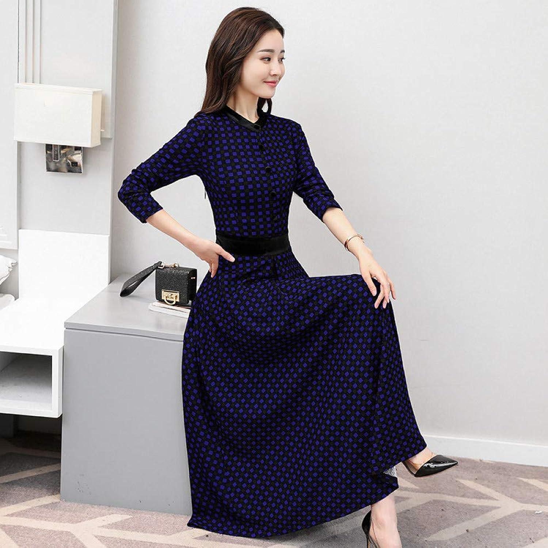 Cxlyq Dresses bluee Long Plaid Waist Long Sleeve Dress Long Skirt Female