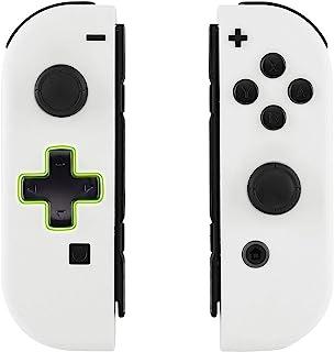 eXtremeRate mjuk touch vit joycon handhållen kontrollkåpa (D-pad-version) med fullständiga inställningsknappar, DIY ersätt...
