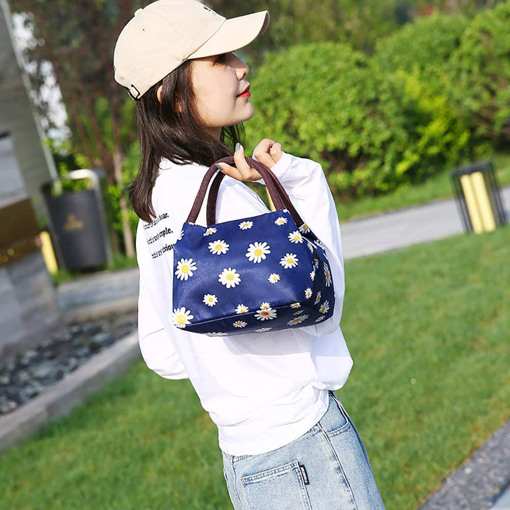 Lunch Bag for Women, Instant Lunch Bag, Large Tote Bag (A-Navy)