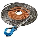 Seilflechter NOVOLEEN-cable de torno PROFI-X, gris, 30 m, 10 mm ø, carga de rotura aprox. 9900 daN, con guardacabo de cable de acero inoxidable con mosquetón todo terreno GK 12, por 8/10 mm ø