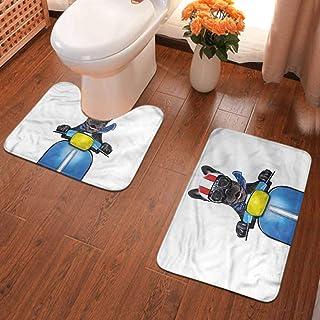 Dog Driver Bath Mat Bulldog on a Scooter Non-Slip Bathmat Antiskid Pad Doormat Set 35.4x24 Inch