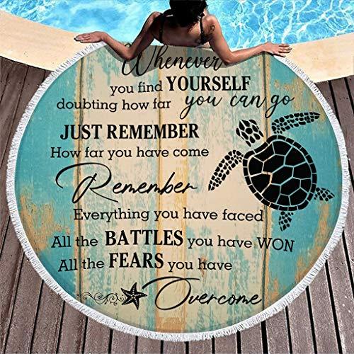 Stormruier Turtle Fears You Have Overcome - Manta de playa a prueba de arena con círculo para meditación y yoga para bebé o adultos, color blanco 150 cm
