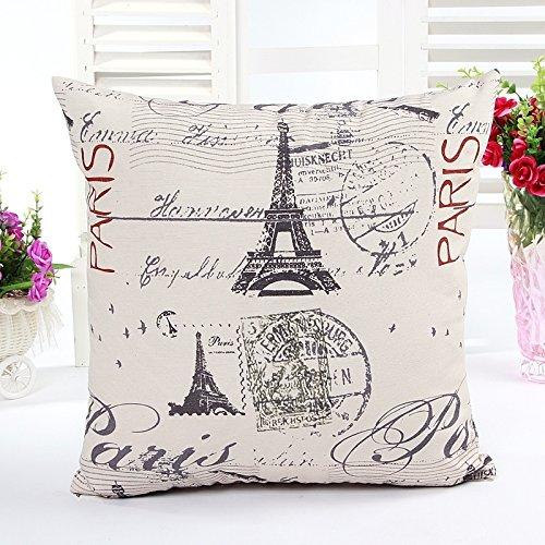 DAN SPEED 18' Cuscini in Lino Stampato Torre Eiffel di Parigi Moderno Federa Cuscino Cuscinetto per Divano