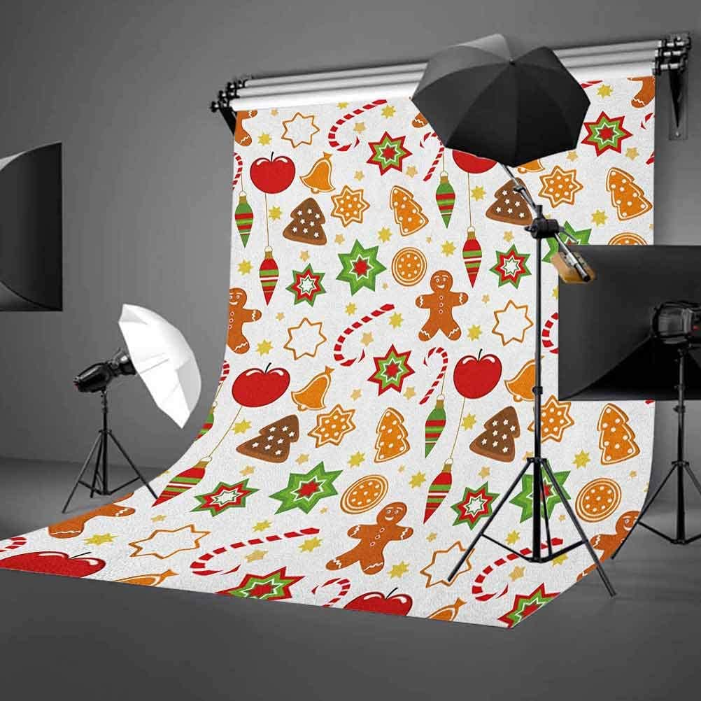 8x12 FT Vinyl Photography Background Backdrops,Festive Christmas Icons Graphic Pattern Star Figures Cookies s Bells Background for Child Baby Shower Photo Studio Prop Photobooth Photoshoot