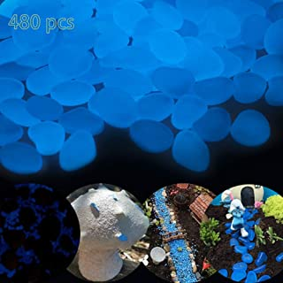 Glowing rocks,480 pcs Glow in the dark pebbles for Outdoor Decor, Garden Lawn Yard, Aquarium, Walkway, Fish Tank, Pathway, Driveway, Luminous Pebbles Powered by Light or Solar-Recharge Repeatedly