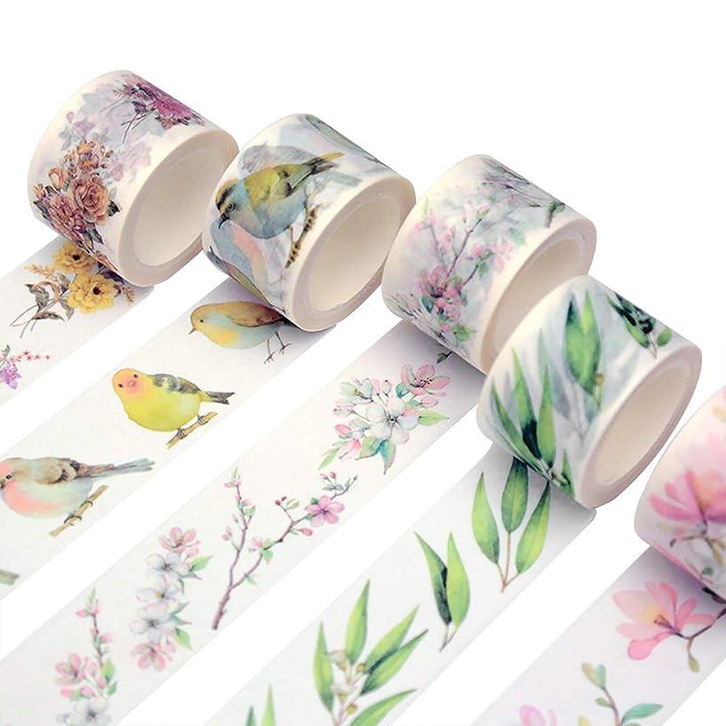 Floral Washi Tape Set (8 Rolls) Romantic Camellia Eucalytus Pear Flower Branch Butterfly Kawaii Bird Masking Tapes Decoration Label Sticker for Art Craft DIY Scrapbooking Planner Journal Photo Frame