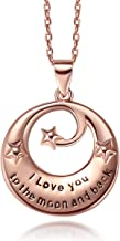 Caperci Sterling Silver I Love You to The Moon and Back Pendant Necklace, Jewelry Gifts for Christmas