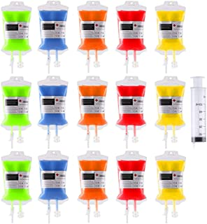 15Pack Blood Bag Drink Container 300ml,Halloween Party Cups Contain 60ml Syringe 15PCS Clips,Doctor Nursing/RN Graduation ...