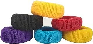 Utkarsh (Set Of 6 Pcs) Stretchable Multicolor Cotton Wool Soft Elastic Plain Design Hair Ties Bun Ponytail Thick Rubber Ba...