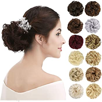 REECHO Thick 2PCS Updo Messy Hair Bun Curly Wavy Ponytail Extensions Hairpieces Hair Scrunchies for Women Girls Color Light Golden Blonde with Bleach Blonde Highlights