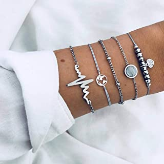Arimy Juego de pulseras de electrocardiograma bohemio, con mapa, cadena de muñeca, cadena de mano, accesorios para mujeres...