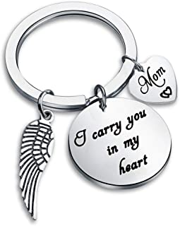 I Carry You in My Heart Keychain Mom Dad Memorial Gifts for Daughter Son