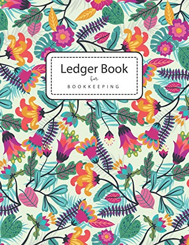 Ledger Books for Bookkeeping: Colorful Flowers | 4 Column Accounting Ledger Book | Columnar Notebook | Budgeting and Money Management | Home School Office Supplies (Business Record Notebook)