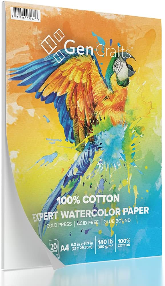 """GenCrafts 100% Cotton Watercolor Paper Pad - A4 8.3x11.7"""" - 20 Sheets (140lb/300gsm) - Cold Press Acid Free Art Sketchbook Pad for Painting & Drawing, Wet, Mixed Media"""