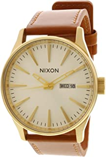 ساعة نيكسون للرجال Sentry Leather A1052621 كواترز ذهبية