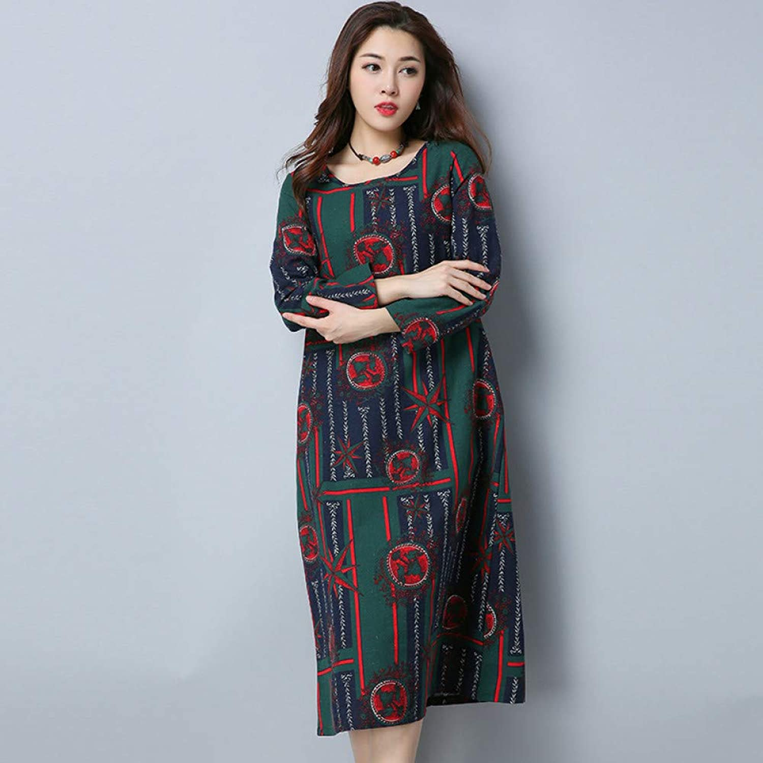 Cxlyq Dresses Large Size Cotton and Linen Vintage Printed Long Sleeve Medium Long A Word Dress