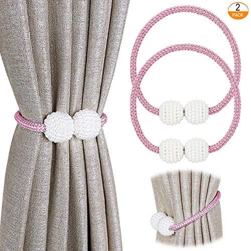 Pinowu Magnetische Vorhang Raffhalter Vorhang Clips Seil (2 Stück), Vorhang Halter Schnallen Vorhängehalter für Haus Dekoration (Rosa)
