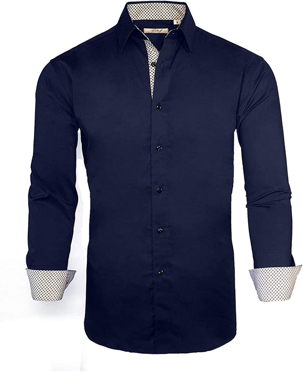 ExQuisite.ZFZ Mens Dress Shirts Long Sleeve Regular Fit Stretch Casual Button.