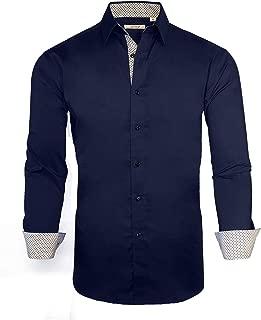 Mens Dress Shirts Long Sleeve Regular Fit Stretch Casual Button Down Shirt