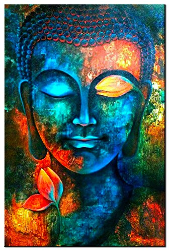 Blue Buddha Decor Wall Paintings for Bedroom Wall Art Colorful Zen Canvas Prints 24x36' Abstract Buddha Head Painting Posters Modern Home Decoration Living Room Study Yoga Lotus Flower Pictures