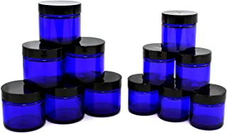 Combination 12 Pack of Cobalt Blue 1oz & 2oz Glass Straight Sided Jars, Lids Included; Empty Refillable Containers for Cosmetics, Creams, Lotions, Essential Oils (6 of Each)