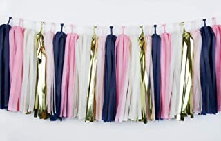 4 Pack 20 Pcs 14 inch Mixed Navy Blue Pink White Gold Tissue Paper Tassels, Nautical Wedding Bunting Wedding Baby Shower Birthday Party Hanging Decoration