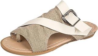 [Yochyan ブーティー] レディース サンダル スリッパ ビーチシューズ フラットシューズ オープントゥ パンプス 女性の靴 リネン スリップオン カジュアルシューズ 通気性 耐久性 ファッション おしゃれ 春夏 無地 美脚 アウトドア靴
