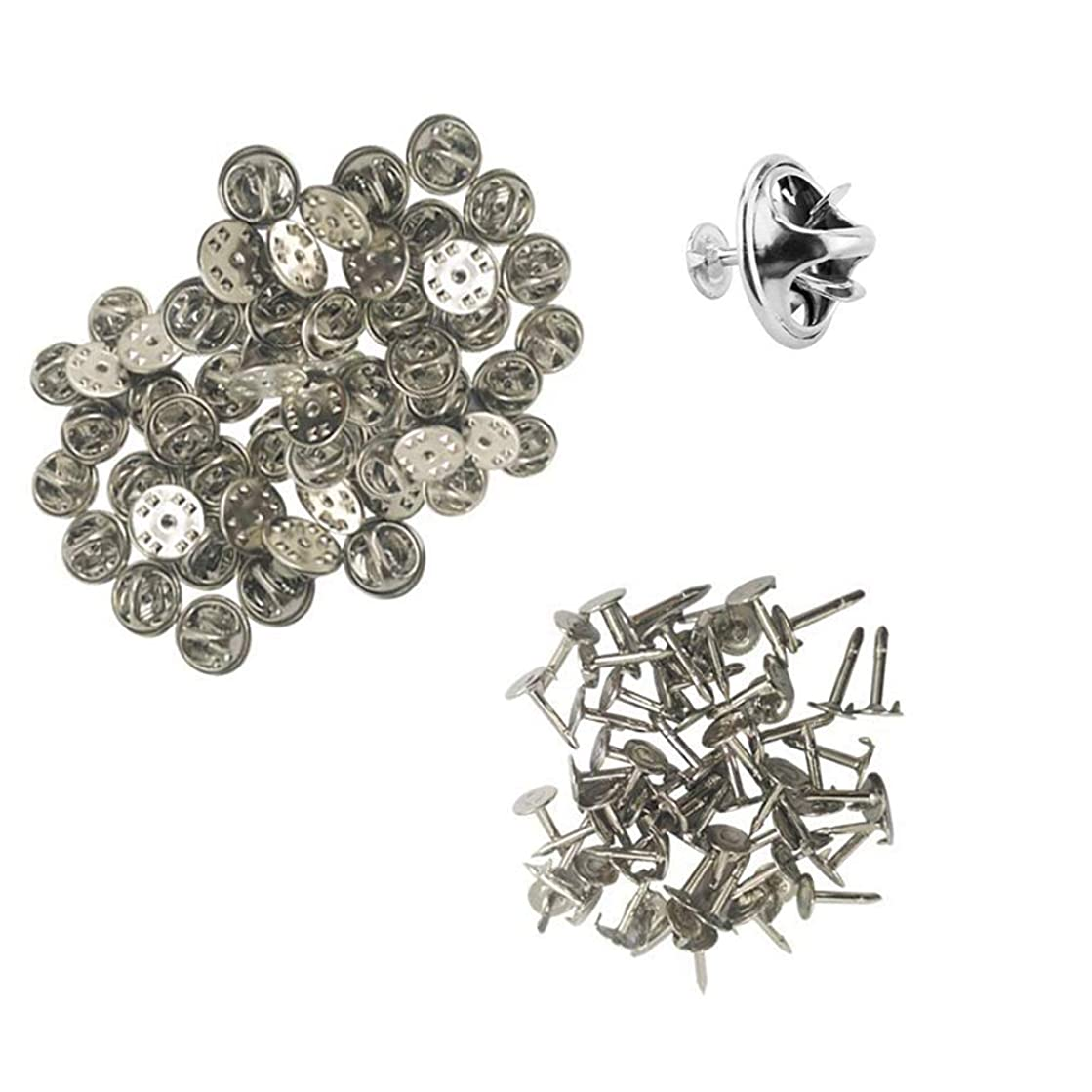 100 Pieces Metal Butterfly Clutch Uniform Pin Badge Insignia Clutches Pin Backs Replacement Butterfly Tie Tacks Pin Back Replacement with Blank Pins for Craft Jewelry Making Silver Color
