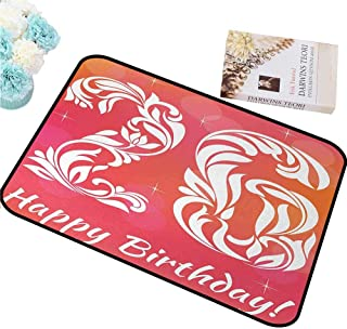 FOCLKEDS Absorbing dust Door mat 26th Birthday,Unique Victorian Style Leaf Featured Number Font Aging Theme Print,Dark Coral White Daily use W24 xL35