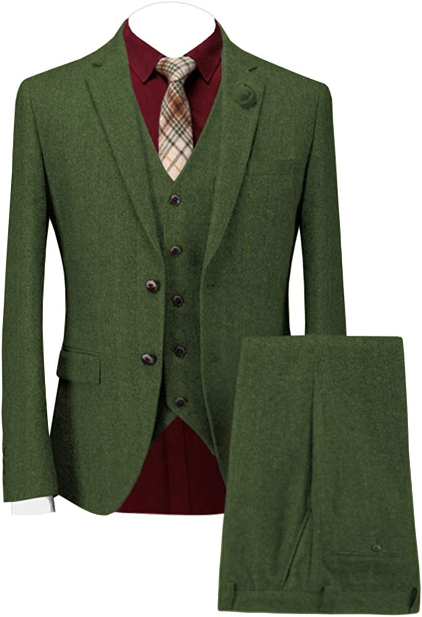 Men's Suits Bussiness Casual Formal 3 Piece Wool Tweed Classic Evening Tuxedos Wedding Grooms Blazer&Vest&Pants(Green,US54)