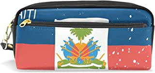 Distressed Haiti Flag PU Leather Student Pencil Case Pen Organizer Pouch Stationary Case Makeup Cosmetic Bag