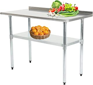 Nurxiovo 36X24IN Stainless Steel Table Commercial Kitchen Prep Tables with Backsplash Restaurant Work Table Workbench Metal Food Grade Countertop Workstation