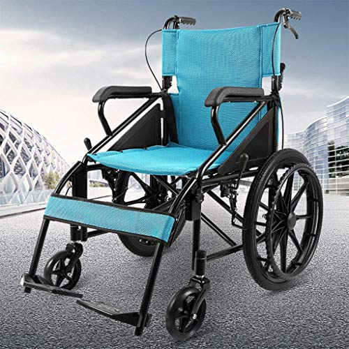AOLI Eigenantrieb Rollstuhl, Leichtklapp Rollstuhl, Ultra-Light-Reisen für Behinderte Trolley, Geeignet für Menschen mit Behinderungen, Senioren, Reisen Tragbarer Rollstuhl, Blau,Blau