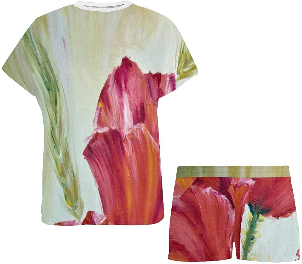 InterestPrint Poppies Flower in The Morning Women's Pajama Sets Short Sleeve Shorts - Pajamas for Women