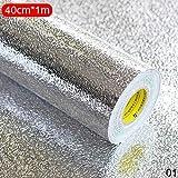 Calistouk Wasserfester Aufkleber für die Küche, öldicht, selbstklebende Aluminiumfolie, schmutzabweisend, Aufkleber für Gasherd, Schublade, hitzebeständig, Muster A, 40 x 100 cm