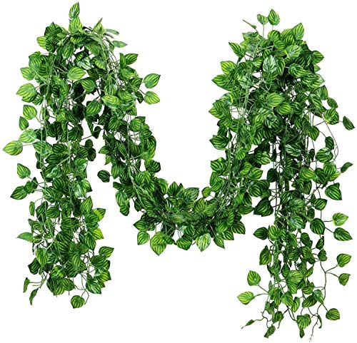 168 feet Fake Foliage Garland Leaves Decoration Artificial Greenery Ivy Vine Plants for Home Decor Indoor Outdoors (Watermelon Leaves)