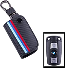 JKCOVER for BMW Remote Fob, M-Colored Stripe Black Carbon Fiber Pattern Leather Key Holder with Keychain (for Older 1 3 5 6 Series X5 X6 Z4)
