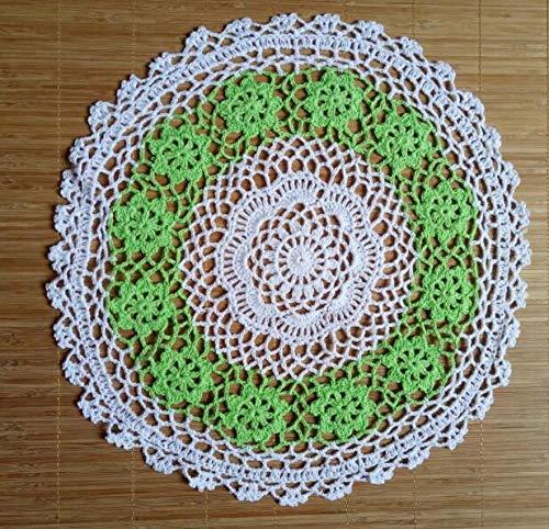 ASLD Salvamanteles Individuales Mesa De Encaje De Algodón Mantel Individual Crochet Café Mantel Individual Almohadilla De Vidrio Bebida De Navidad Comedor Tapete Cocina Redondo 40 Cm