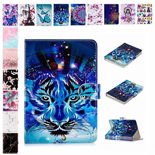 E-Mandala Universal 7 Zoll Hülle Etui Flip Hülle Leder Wallet Cover Tablet PC Tasche mit Kartenfach Klapphülle Ledertasche Lederhülle - Tiger