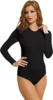 NBB Womens Basic Solid Long Sleeve Round Crew Neck Bodysuit Lingerie with Stretch