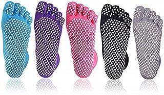 XLKJ 5 Pares Calcetines Antideslizantes Mujeres - Calcetines de Yoga con Dedos para Pilates Danza Yoga Gimnasio Deportes Artes Marciales
