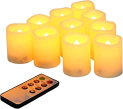 Flameless Votive Candles with Remote Control and Timer Bulk Set of 10 Tealight Candles/Realistic Outdoor Flickering Battery Operated LED Tea Lights (Batteries Included) 200Hours